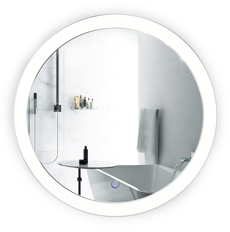 "Krugg Sol22 LED Bath Round Mirror 22"" Diameter Lighted Vanity Mirror Dimmer & Defogger Silver Backed Glass"