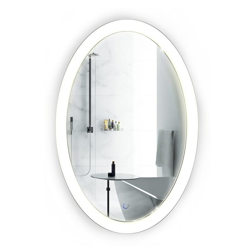 "Krugg Sol2240 Oval LED Bath Mirror 22""x40"" Lighted Vanity Mirror Includes Dimmer & Defogger Wall Mount Vertical or Horizontal Installation"