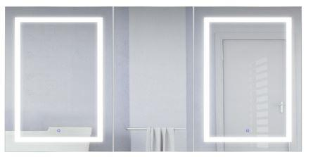 "Krugg Svange 6636D LLR LED Medicine Cabinet 66""x36"" Recessed or Surface Mount Mirror Cabinet w/Dimmer & Defogger + 3X Makeup Mirror Inside & Outlet + USB"