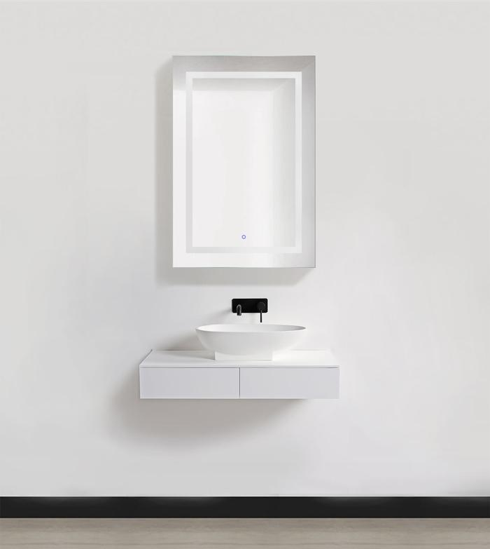 "Krugg Svange2436R LED Medicine Cabinet 24""x36"" Recessed or Surface Mount Mirror Cabinet w/Dimmer & Defogger + 3X Makeup Mirror Inside & Outlet + USB, Right Side Open"