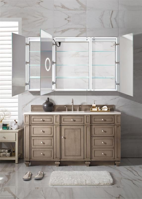 "Krugg Svange6036LLR LED Medicine Cabinet 60""x36"" Recessed or Surface Mount Mirror Cabinet w/Dimmer & Defogger + 3X Makeup Mirror Inside & Outlet + USB"