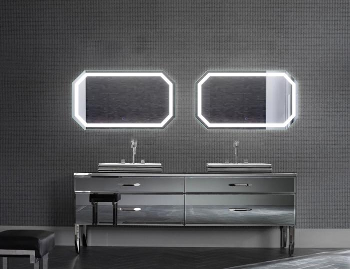 "Krugg Tudor2442 Octagon LED Bath Mirror 24""x42"" Lighted Wall Mount Vanity Mirror Includes Defogger & Dimmer Vertical or Horizontal Install"