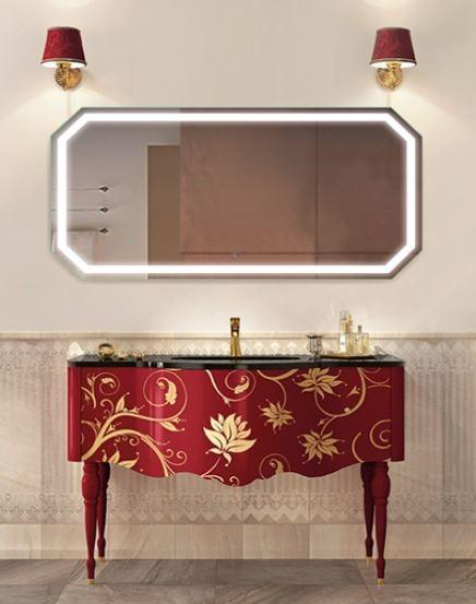 "Krugg Tudor6030 Octagon LED Bath Mirror 60""x30"" Lighted Wall Mount Vanity Mirror Includes Defogger & Dimmer Vertical Horizontal Install"