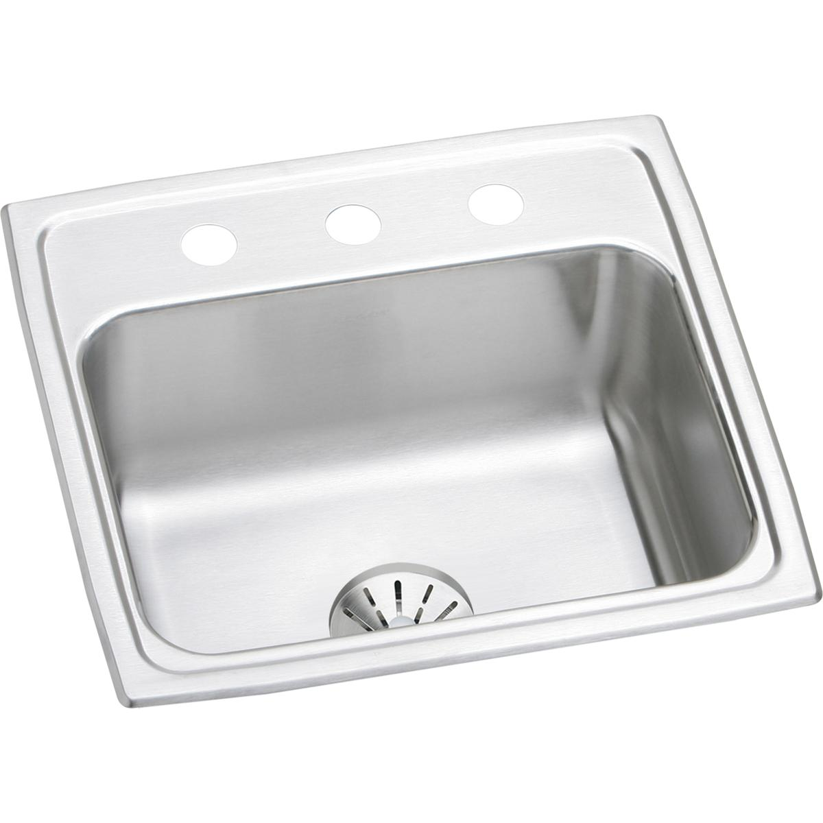 "Elkay Lustertone Classic Stainless Steel 19-1/2"" x 19"" x 7-1/2"", Single Bowl Drop-in Sink with Perfect Drain"