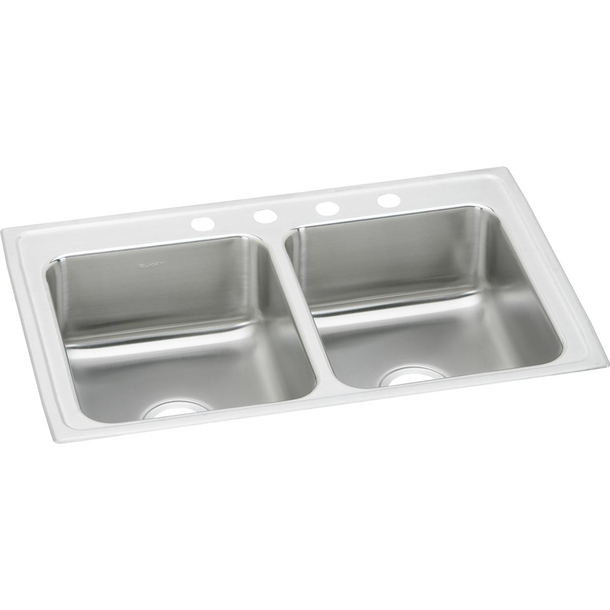 "Elkay Lustertone Classic Stainless Steel 29"" x 22"" x 7-5/8"", Equal Double Bowl Drop-in Sink"