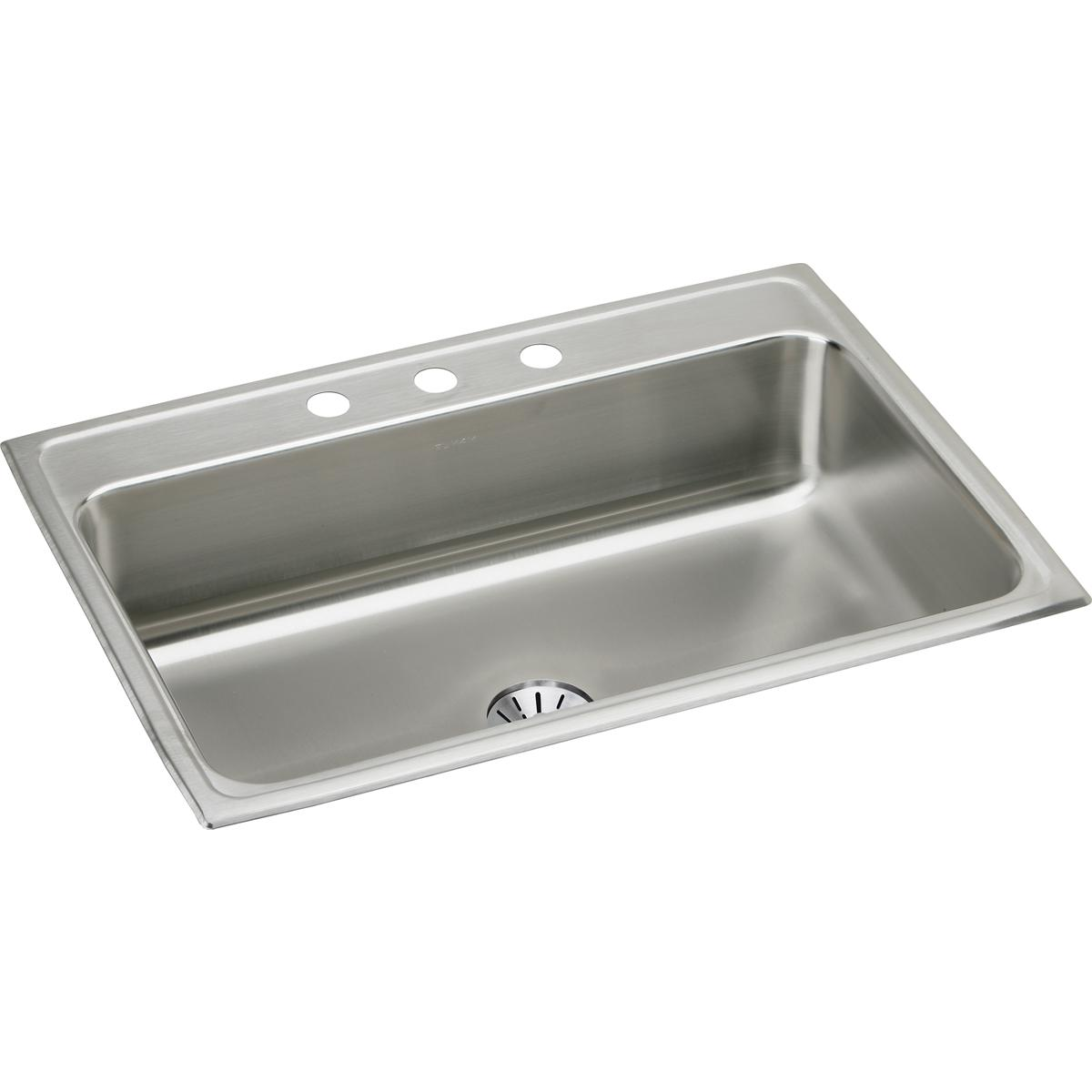 "Elkay Lustertone Classic Stainless Steel 31"" x 22"" x 7-5/8"", Single Bowl Drop-in Sink with Perfect Drain"