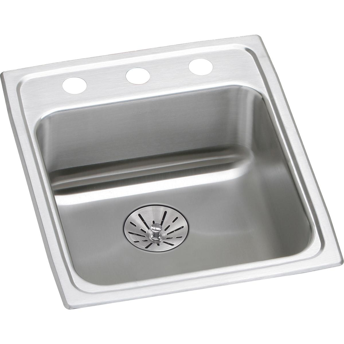 "Elkay Lustertone Classic Stainless Steel 17"" x 20"" x 6-1/2"", Single Bowl Drop-in ADA Sink with Perfect Drain"