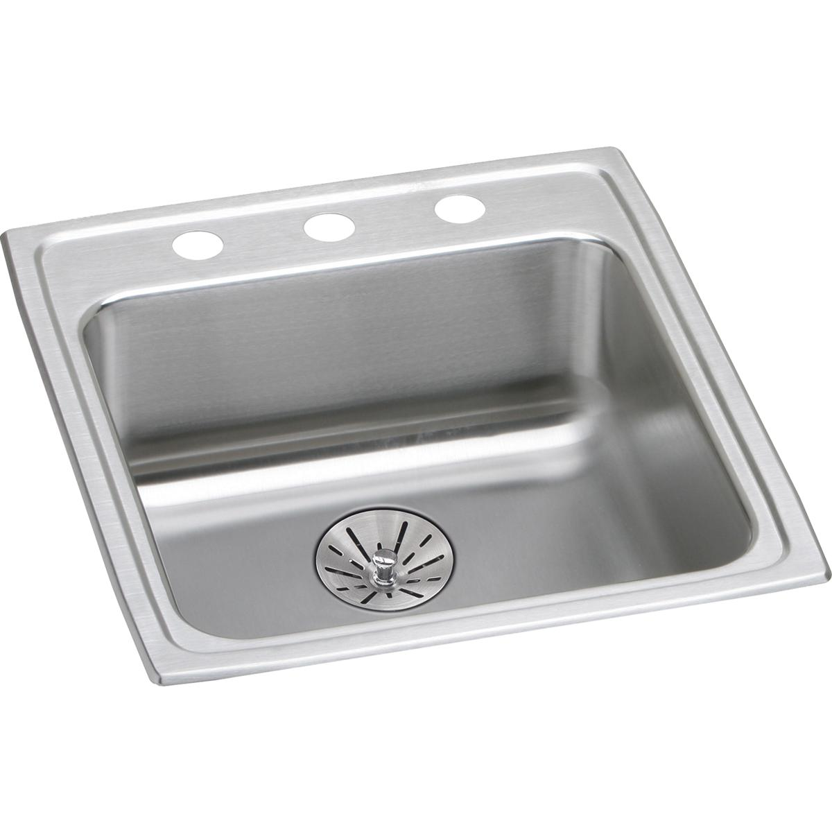 "Elkay Lustertone Classic Stainless Steel 19-1/2"" x 22"" x 6-1/2"", Single Bowl Drop-in ADA Sink with Perfect Drain"