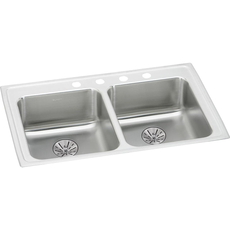 "Elkay Lustertone Classic Stainless Steel 29"" x 22"" x 6-1/2"", Equal Double Bowl Drop-in ADA Sink w/ Perfect Drain"