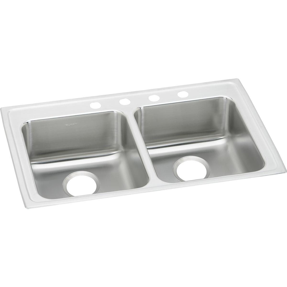 "Elkay Lustertone Classic Stainless Steel 33"" x 19-1/2"" x 6-1/2"", Equal Double Bowl Drop-in ADA Sink"
