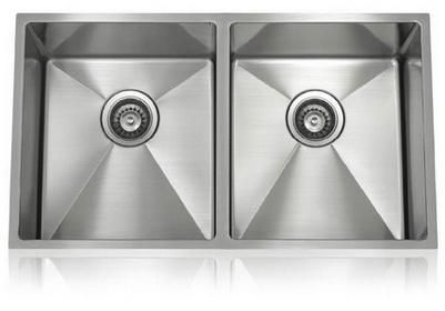 Lenova SS-12Ri-D1 One-Half Radius Collection Undermount Double Bowl Kitchen Sink Stainless Steel