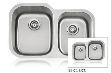 Lenova SS-CL-D2L-16 Classic 16 Gauge Undermount Double Bowl Kitchen Sink Stainless Steel