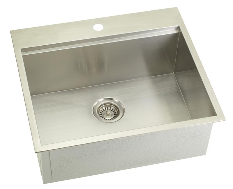 Lenova SS-OT-S25 Dual Mount Ledge Series Single Bowl Kitchen Sink Stainless Steel