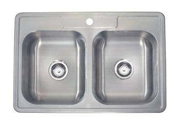 Lenova SS-TM-33818-1H Drop In Double Bowl Kitchen Sink Stainless Steel