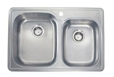 Lenova SS-TM-33918-1H Drop In Double Bowl Kitchen Sink Stainless Steel