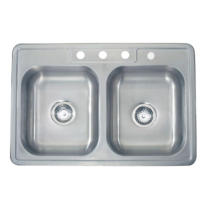 "Lenova TM-33820-4H Apogee 20 Gauge 33"" Stainless Steel Double Kitchen Sink"