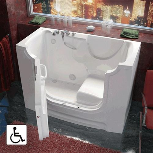Meditub 3060WCARWD 30x60 Right Drain White Whirlpool & Air Jetted Wheelchair Accessible Bathtub