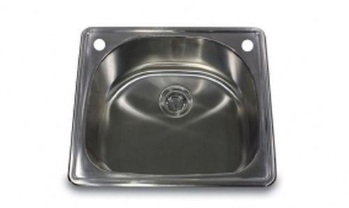 Nantucket Sinks NS2522-D 25-Inch 18-Gauge D-Bowl Single Bowl Self Rimming Drop-In Kitchen Sink, Stainless Steel