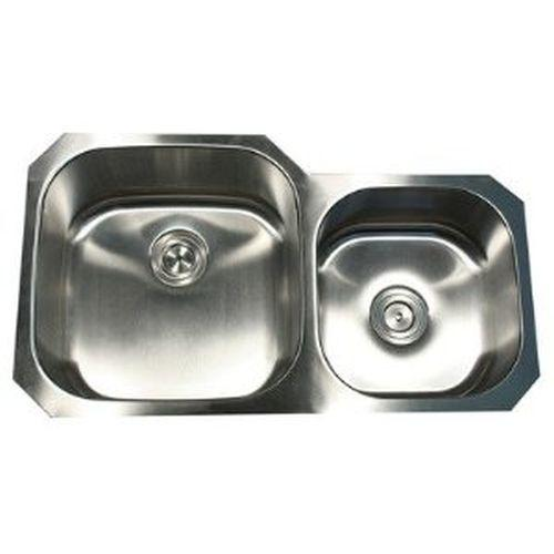 Nantucket Sinks NS3520-16 35-Inch Double Bowl Undermount Stainless Steel Kitchen Sink