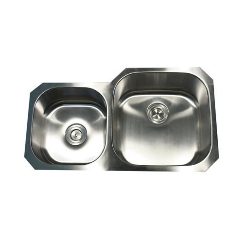 Nantucket Sinks NS3520-R-16 Undermount Stainless Steel Double Bowl Kitchen Sink
