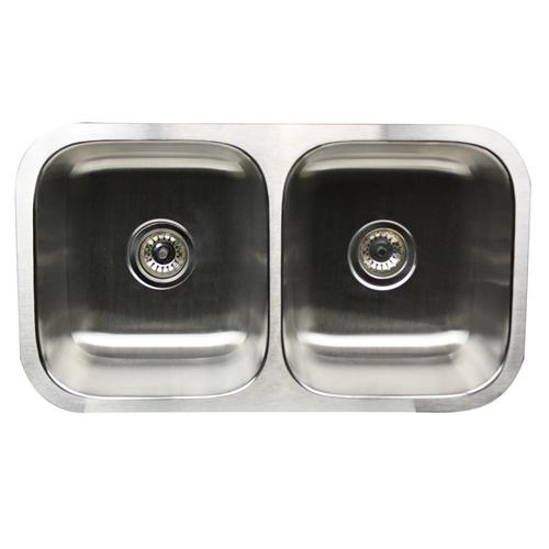 NANTUCKET SINKS NS5050 - 32 DOUBLE EQUAL UNDERMOUNT STAINLESS STEEL KITCHEN SINK