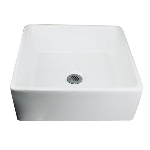 "Nantucket Sinks NSV107A 15"" Square White Ceramic Vessel Sink"