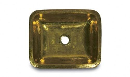 Nantucket Sinks REB 17-Inch x 14-Inch Hand Crafted Hammered Rectangle Vanity, Solid Brass