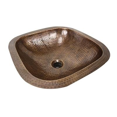 SQRC-OF - 16.25in Hand HAMMERED COPPER SQUARE UNDERMOUNT Bath SINK OVERFLOW