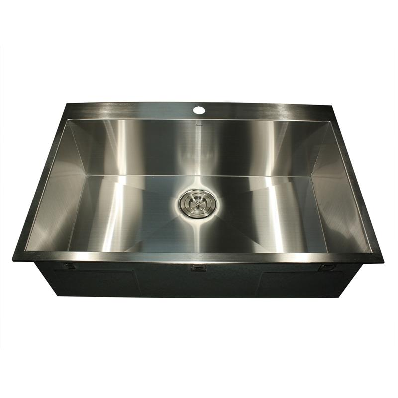 Nantucket Sinks' ZR3322-S-16 - 33 Inch Large Rectangle Single Bowl Self Rimming Zero Radius Stainless Steel Drop In Kitchen Sink, 16 Gauge -1 Hole