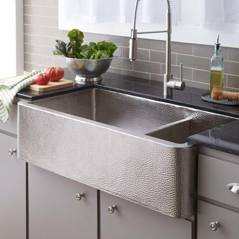 Native Trails CPK574 Farmhouse Duet Pro Copper Kitchen Sink Brushed Nickel