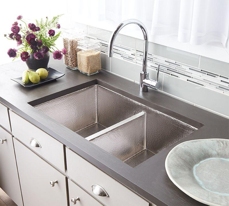 Native Trails CPK575 Cocina Duet Copper Kitchen Sink Brushed Nickel