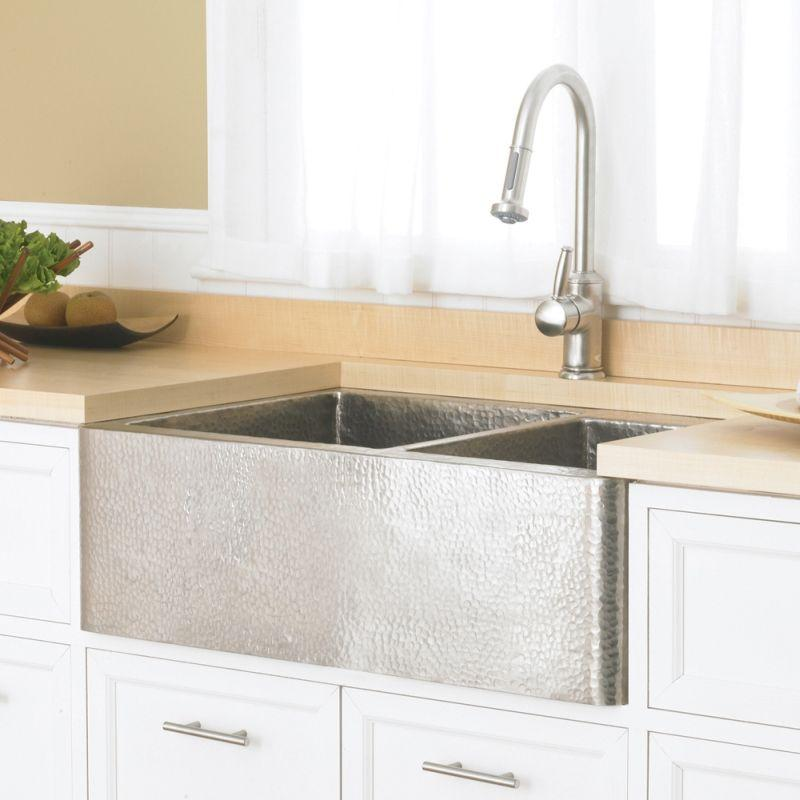 Native Trails CPK576 Farmhouse Duet Copper Kitchen Sink Brushed Nickel