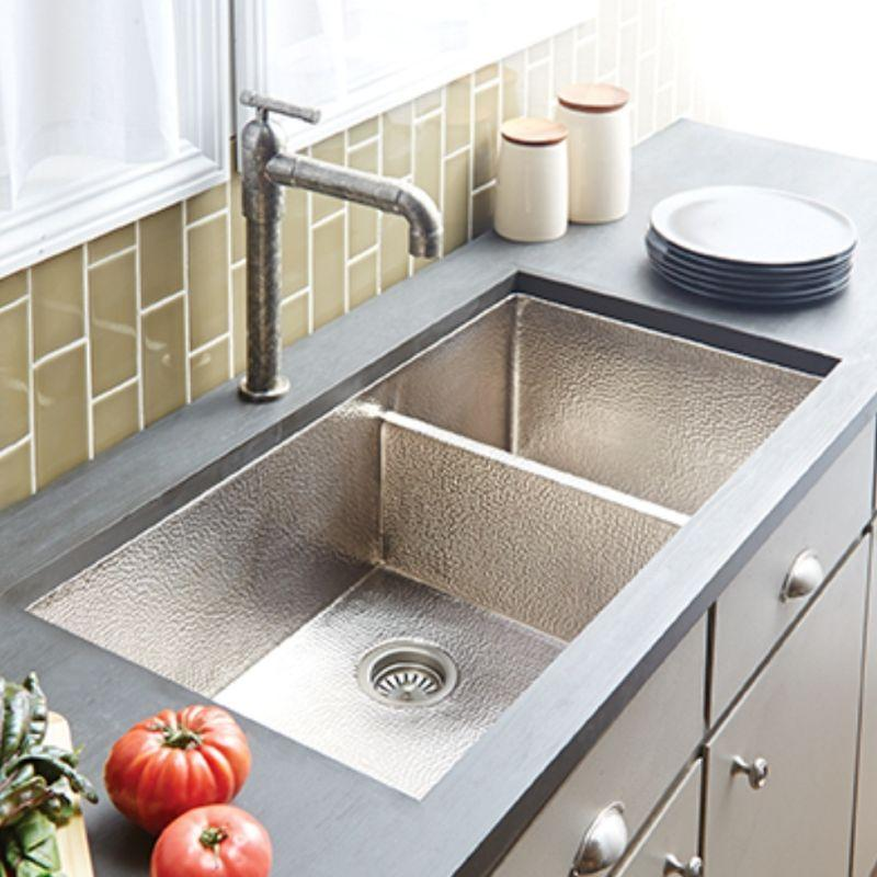 Native Trails CPK577 Cocina Duet Pro Copper Kitchen Sink Brushed Nickel