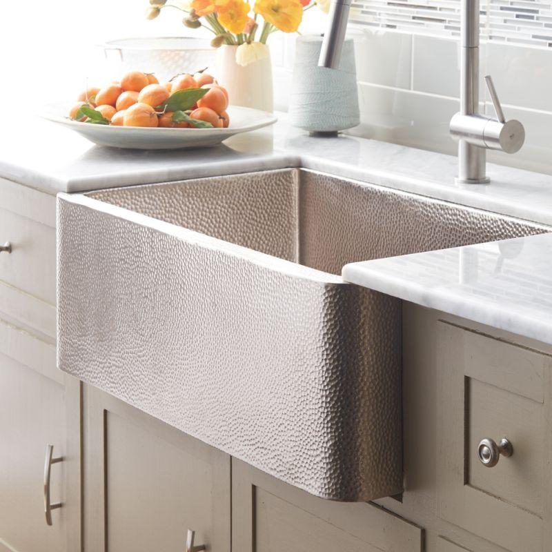 Native Trails CPK594 Farmhouse 30 Copper Kitchen Sink Brushed Nickel