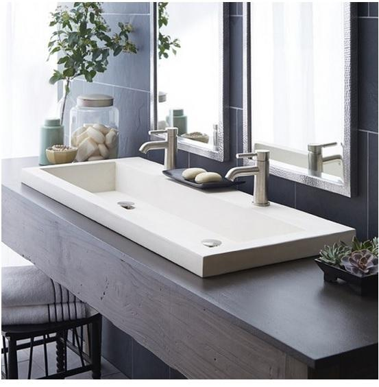 Native Trails NSL4819-P Trough 4819 NativeStone Bath Sink in Pearl