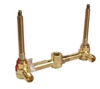 "Newport Brass 1-532T 2-Valve rough with 1/2"" NPT outlets."