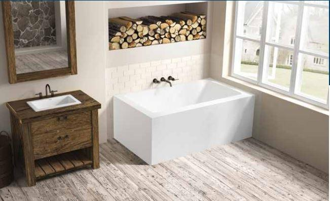 Oceania Baths Lo6631Rsfrca01 Loft 6631 Right Hand Drain, Skirts Front and Right, Comfort Air, White