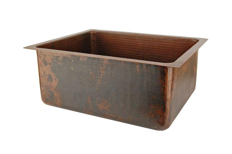 "Premier Copper Products BREC20DB 20"" Hammered Copper Kitchen/Bar/Prep Single Basin Sink Oil Rubbed Bronze"