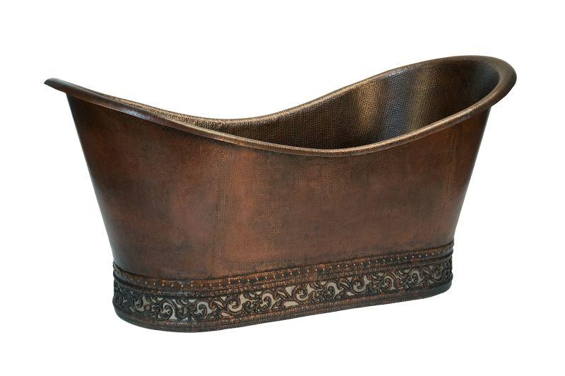 "Premier Copper Products BTN67DB 67"" Hammered Copper Double Slipper Bathtub with Scroll Base and Nickel Inlay Oil Rubbed Bronze"