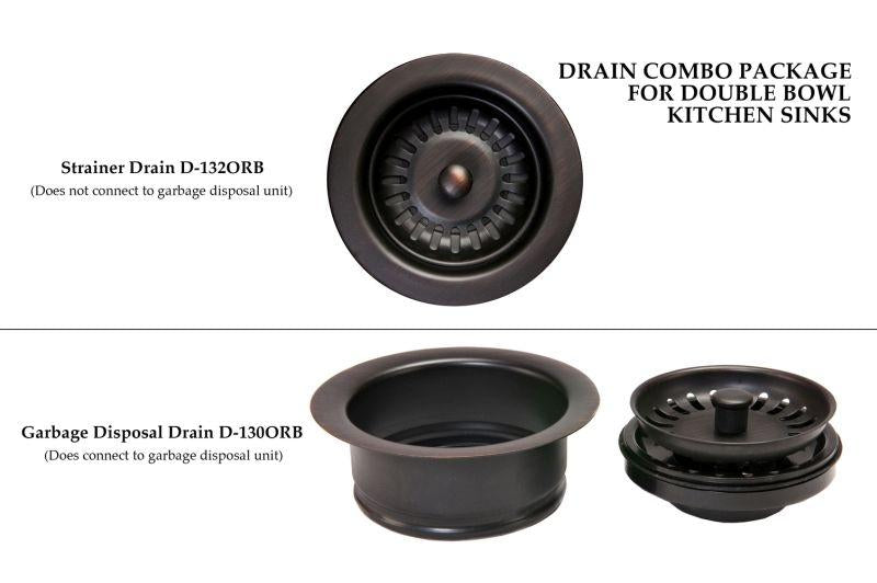 Premier Copper Products DC-1ORB Drain Combination Package for Double Bowl Kitchen Sinks Oil Rubbed Bronze