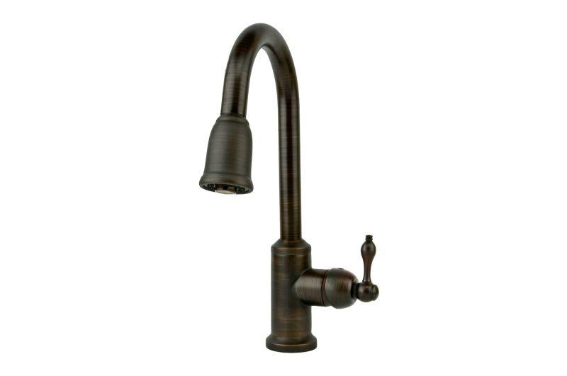 Premier Copper Products K-PD01ORB Single Handle Kitchen Faucet with Pullout Spray Oil Rubbed Bronze