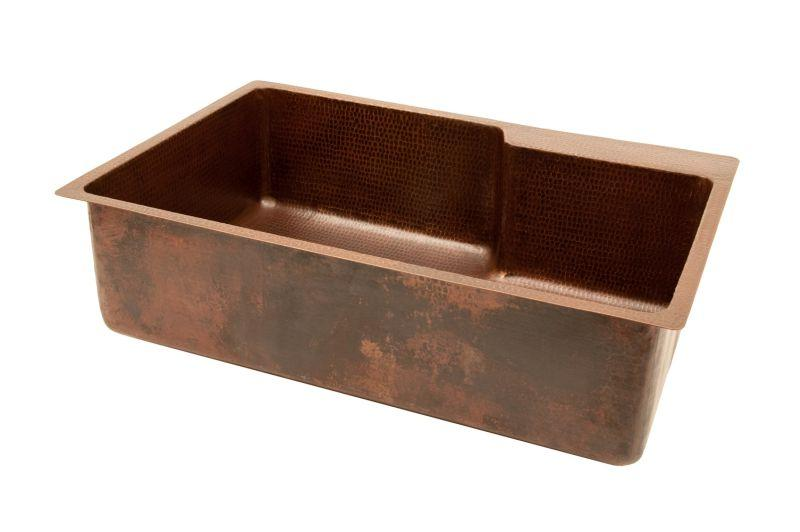 "Premier Copper Products KSFDB33229 33"" Hammered Copper Kitchen Single Basin Sink With Space For Faucet Oil Rubbed Bronze"