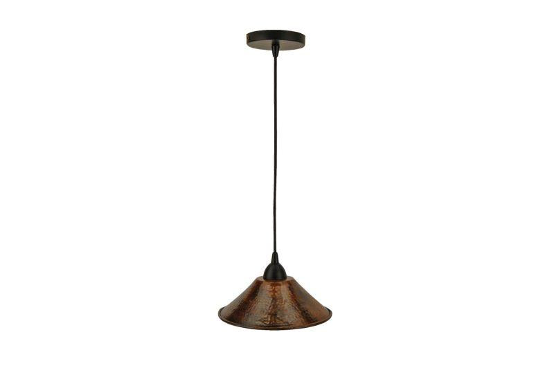 "Premier Copper Products L500DB Hand Hammered Copper 9"" Cone Pendant Light Oil Rubbed Bronze"