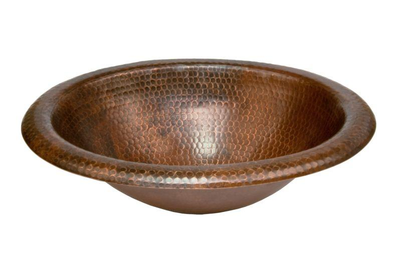 Premier Copper Products LO18RDB Wide Rim Oval Self Rimming Hammered Copper Sink Oil Rubbed Bronze