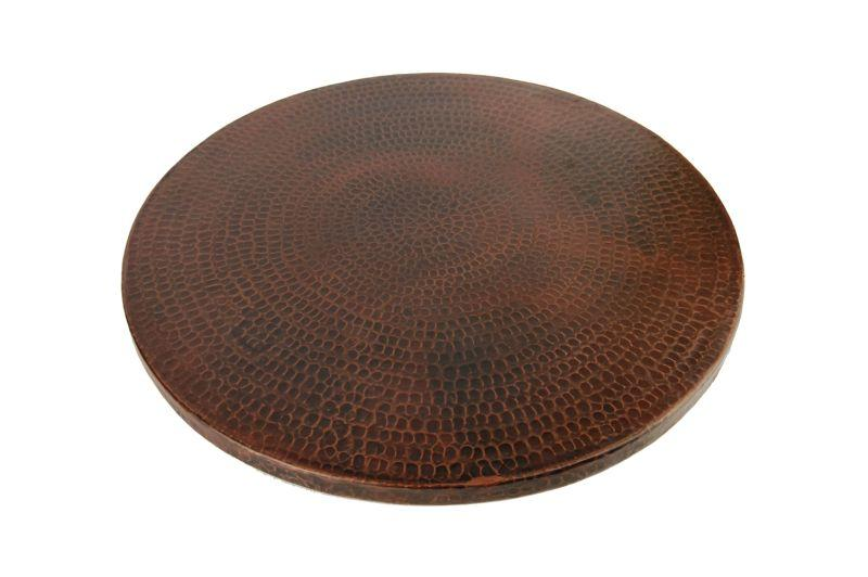 "Premier Copper Products LS18DB 18"" Hand Hammered Copper Lazy Susan Oil Rubbed Bronze"