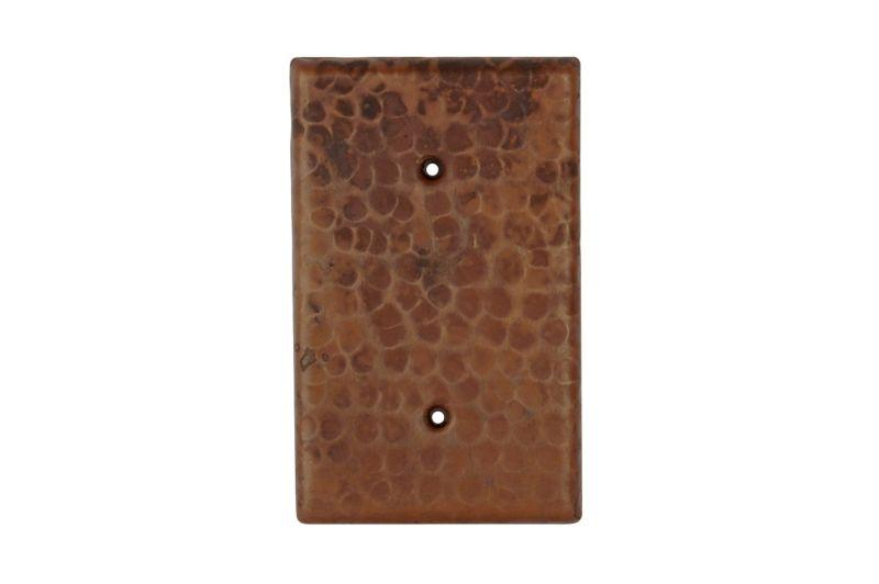Premier Copper Products SB1 Blank Hand Hammered Copper Switch Plate Cover Two Hole Oil Rubbed Bronze