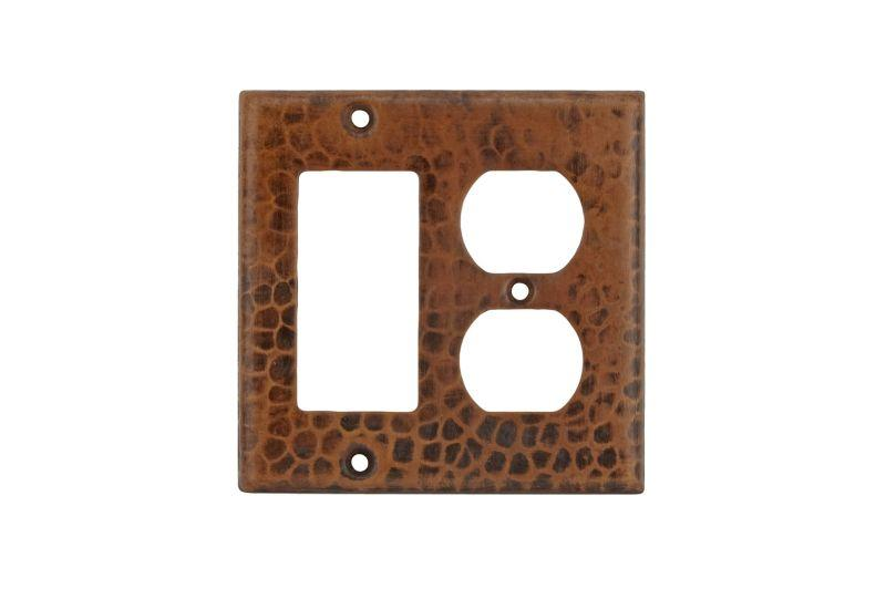 Premier Copper Products SCOR Copper Combination Switchplate, 2 Hole Outlet and Ground Fault/Rocker GFI Cover Oil Rubbed Bronze