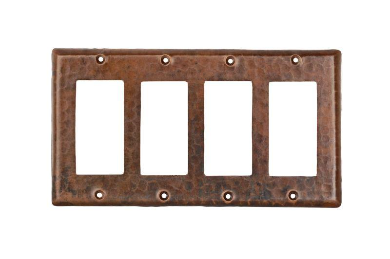 Premier Copper Products SR4 Copper Switchplate Quadruple Ground Fault/Rocker Cover GFI Oil Rubbed Bronze