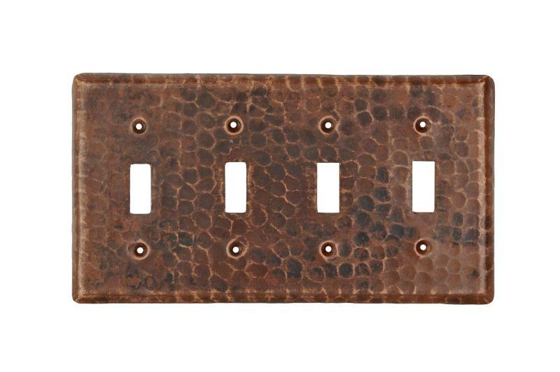 Premier Copper Products ST4 Copper Switchplate Quadruple Toggle Switch Cover Oil Rubbed Bronze