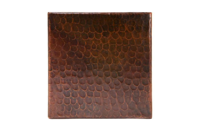 "Premier Copper Products T6DBH 6"" x 6"" Hammered Copper Tile Oil Rubbed Bronze"